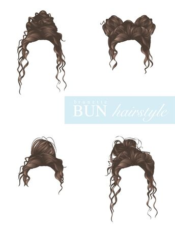 vector illustration of female bun hairstyles set on white background