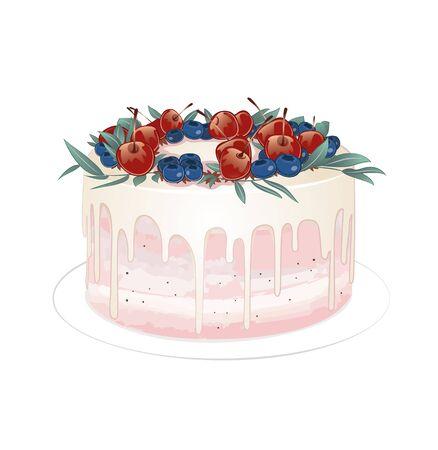 tasty white chocolate cake with berries