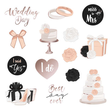 Wedding stickers in powder pink and black palette