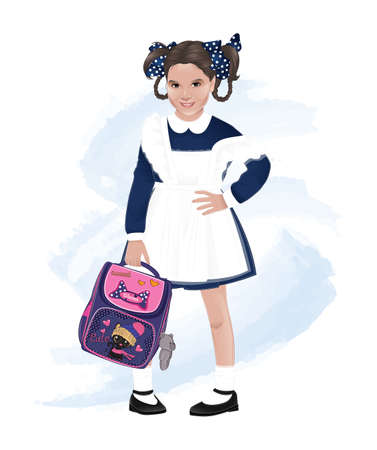 School girl, pupil holding purple backpack