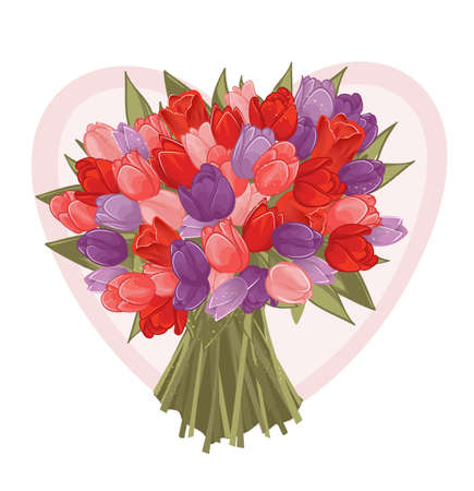 bouquet of spring colorful tulips on heart background