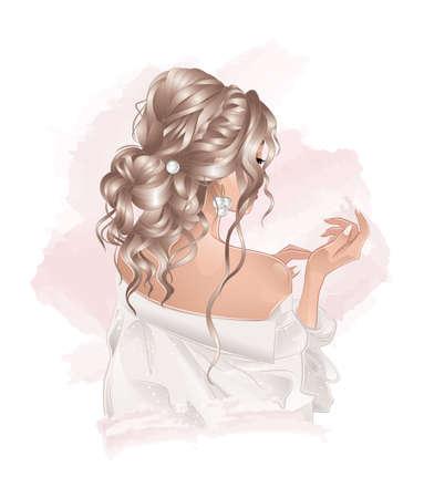 beautiful bride with pearls earrings