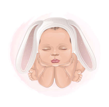 beautiful baby with hare ears on pink background