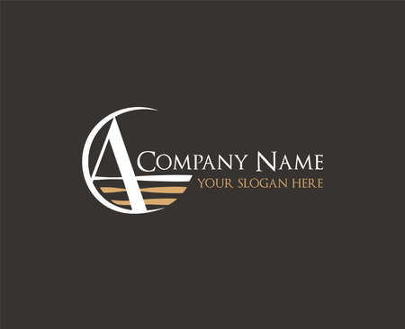 alphabetical horizontal logo design in vector on dark background of A