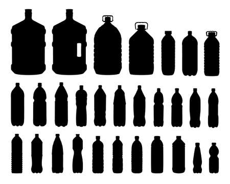 isolated plastic bottles set of different capacity on white background