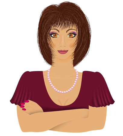 Young women lwith darc hair ooking right. Vector illustration Illustration