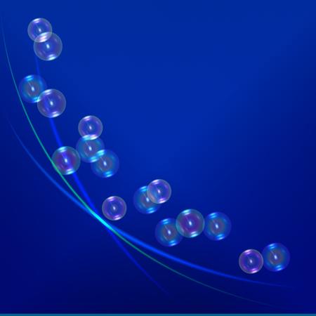 Transparent soap bubbles on magic backdrop. Illustration