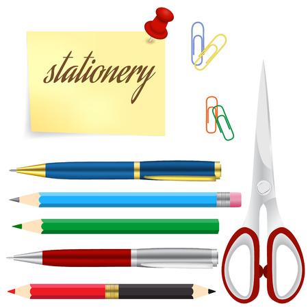 ball pens stationery: Conjunto de plumas de ingeniería y de oficina y lápices de colores, ilustración vectorial