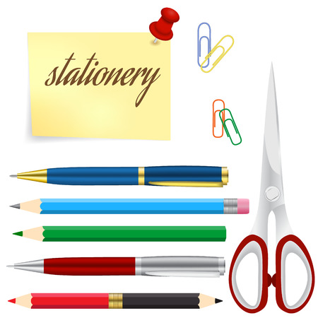 stylo: Set of colored engineering and office pens and pencils, vector illustration Illustration
