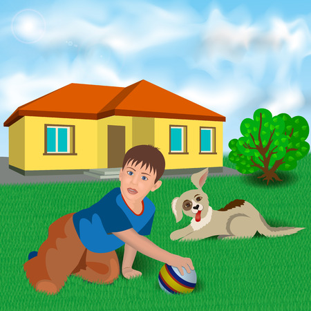 near: Boy Sitting on the Grass and Playing Ball and Dog Near the House. Illustration