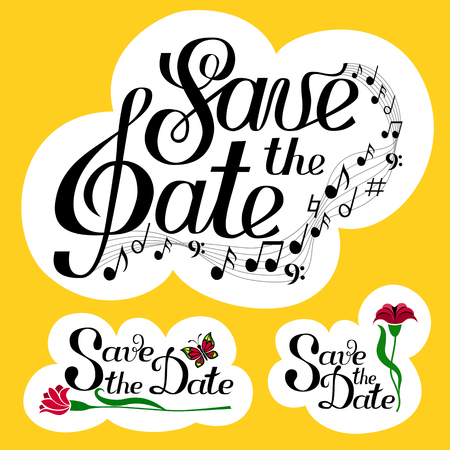 Lettering Save the Date collection with music and notes. Yellow background set. Isolated on white. Hand written illustration. Three 3 elements. Greeting card, postcard, scrapbooking, web, ets