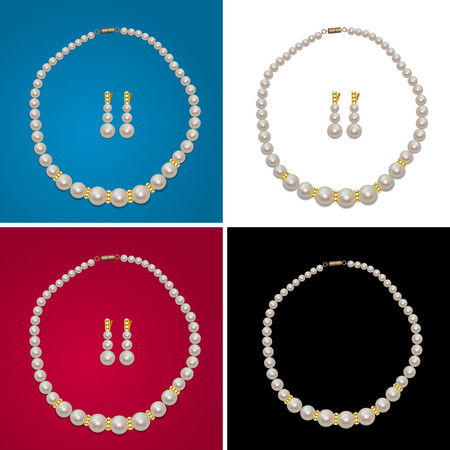 jewerly: Pearl Necklace and Earrings with Gems on the White, Black, Blue, Red Background. Realistic Pearl Jewerly Gift. Jewerly Shop Sale. Vector Illustration