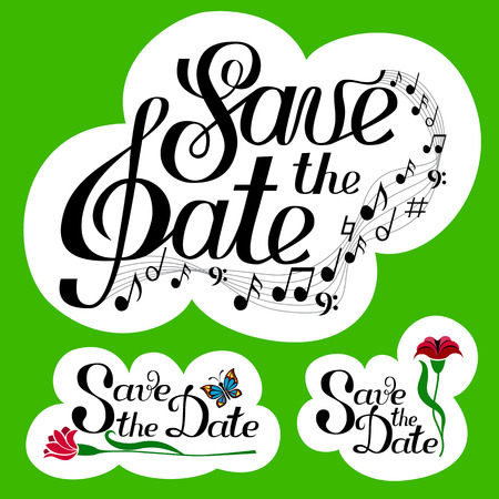 semiquaver: Lettering Save the Date collection with music and notes. Yellow background set. Isolated on white. Hand written vector illustration. Three 3  elements. Greeting card, postcard, scrapbooking, web, ets