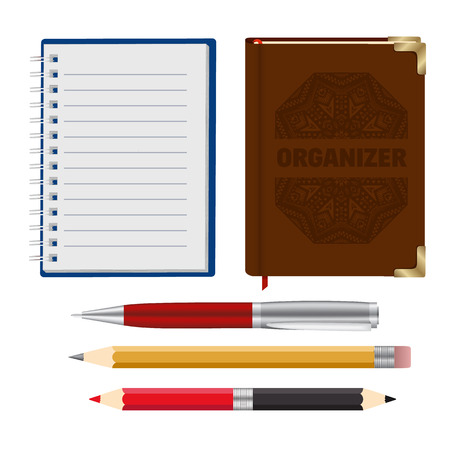 pensil: Collection of Brown Organizer, Open Notebook, Realistic Pen and 2 Two Side Red Black and Yellow Pensil for Sketch. Vector Illustration Illustration
