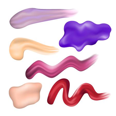 smears: Nail Polish Smears. Red Pink Violet Brown Lilac Nail Enamel Dab. Vector Illustration Illustration