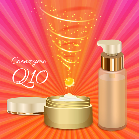 serum: Skin Cream and Emulsion with Coenzyme Q10. Magic Spiral Drop. Collagen Solution. Supreme Collagen Serum Essence.  Vector Illustration. Used for Medicine Banner, Poster, Cosmetics Advertising.