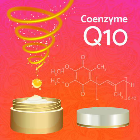 anti aging: Skin Cream with Coenzyme Q10. Chemical Formula. Magic Spiral Drop. Collagen Solution. Supreme Collagen Serum Essence.  Vector Illustration. Used for Medicine Banner, Poster, Cosmetics Advertising.
