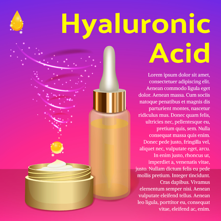 emulsion: Hyaluronic Acid Cream and Emulsion. Place for Text. Collagen Serum Skin Care Cosmetic. Pink Background. Vector illustration. Used for Medicine, Banner, Poster, Cosmetics Advertising.