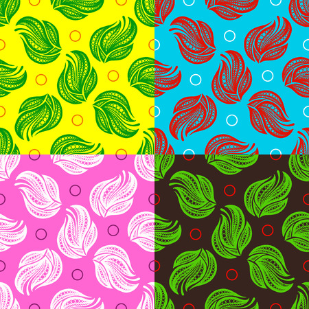 broshure: Abstract Collection Ornaments. Seamless Yellow Green Red Pink Dark Color Pattern. Vector Illustration. Can Used for Design Element, Scrap Booking, Templates, Fabric, Flyer, Broshure Illustration