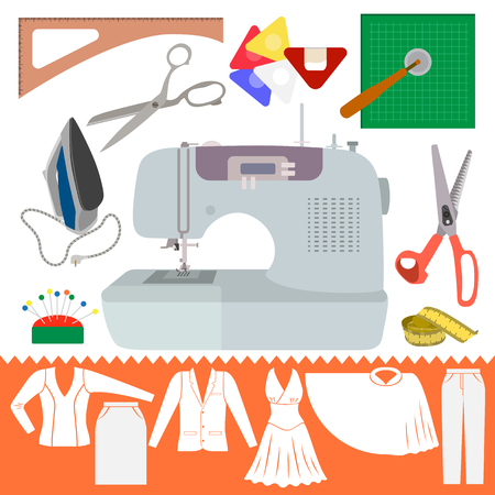 Collection of Sewing Items with Clothes Sihiouette. Set of cutting items for modeling dress. Sewing machine and other accessories for hand made hobby. Fashion tools in flat design.