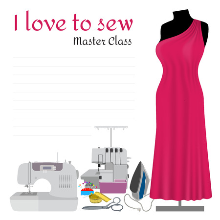 Sewing Master Class Invitation. Collection items for making dress. Sewing machine, overlock, mannequin and other accessories for hand made hobby. Fashion invitation in flat design.