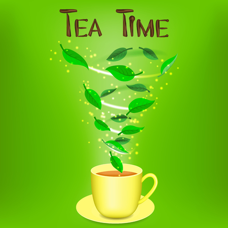 herbal background: Cup of herbal tea with text Tea time. On the green background. One 1 object. Favorite drink. Magic spiral.