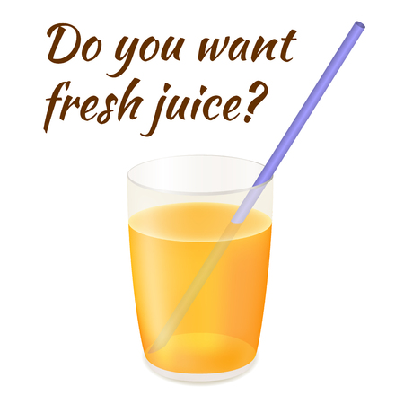 Glass with Fresh Juice on the White Background. Tube for Beverages. A Delicious Drink in a Glass. Card to a Friend with place for Text. Isolated Object.