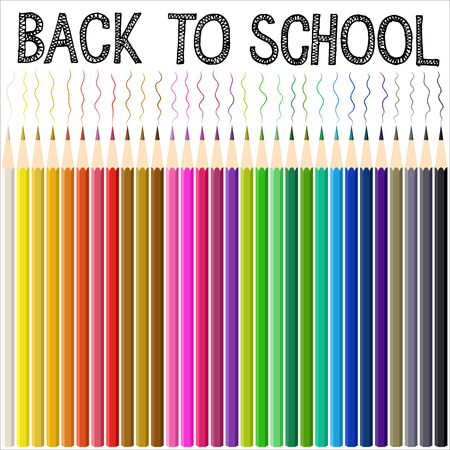 doodle text: Modern school background with color pencil. Back to school doodle text. illustration.