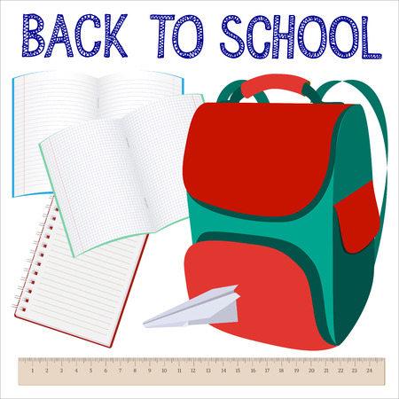 copybook: Modern school background with knapsack, copybook and ruler. Back to school. illustration