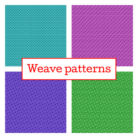wicker: Set of geometric weave pattern in white background. Fabric weave seamless texture. Illustration