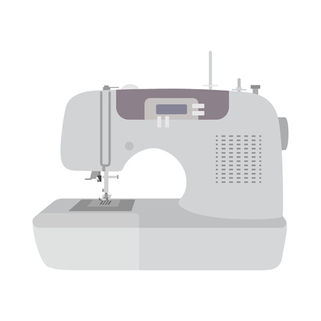 Modern sewing machine on white background. Machine for home self made clothes. sew hobby. Flat isolated illustration