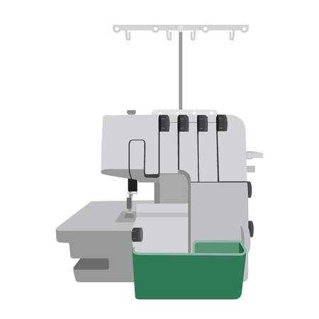 machine made: Modern overlock machine on white background. Machine for home self made clothes. Sew hobby. Flat isolated illustration Illustration