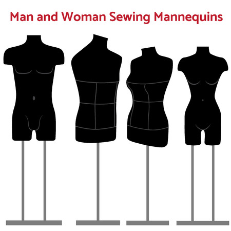 body dimensions: Man and women realistic sewing mannequin of black color in one or two rack. Tailors mannequins illustration Illustration