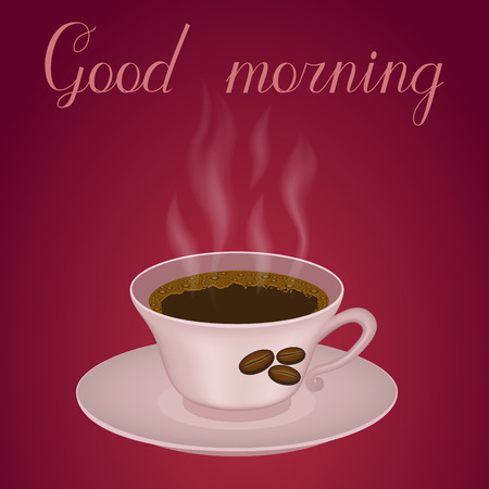 Cup of hot coffee on the brown background. Good morning inscription.