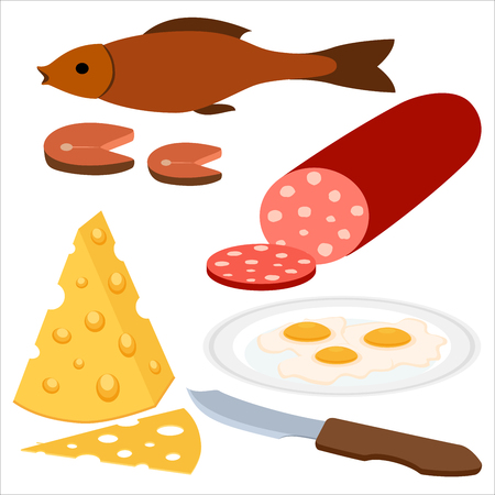 fried eggs: Healthy food flat icons of grilled fish, fried eggs, sausages, cheese on the white background. Restaurant fast food menu elements.