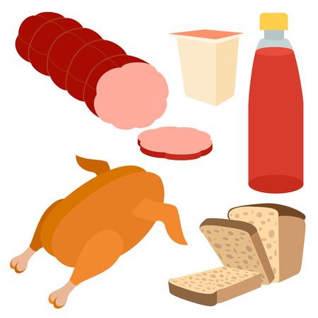 Healthy food flat icons of yogurt, bottle of juice, grilled chiken, bred, sausages on the white background. Restaurant fast food menu elements. Illustration