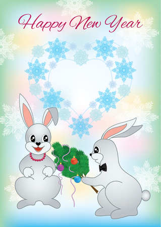New year greeting card with a two lovers rabbit christmas card new year greeting card with a two lovers rabbit christmas card with nice cartoon character m4hsunfo