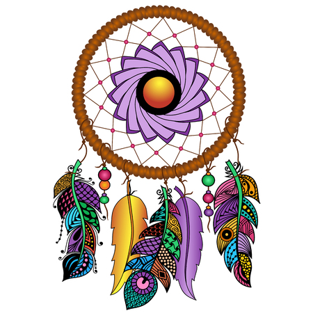 talisman: Hand drawn Native American Indian talisman colored dreamcatcher with feathers and moon. Vector hipster illustration isolated on white. Ethnic design, boho chic, tribal symbol.