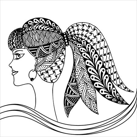 fille coiffure décoratif avec des fleurs, des feuilles dans les cheveux dans le style de griffonnage. Nature, fleuri, illustration florale. page de livre de coloriage dessiné à la main