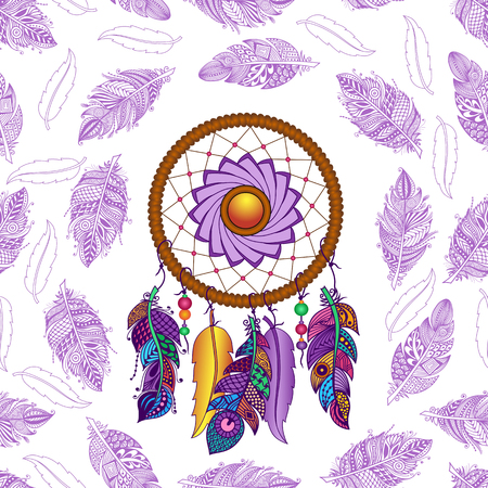 talisman: Hand drawn Native American Indian talisman colored dreamcatcher with feathers and moon. Vector hipster seamless pattern. Isolated on white background. Ethnic design, boho chic, tribal symbol. Illustration