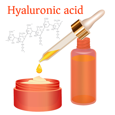 Hyaluronic Acid Cream and Emulsion with Drop. Collagen Serum Skin Care Cosmetic. Chemical Formula. red Bottles on White Background. Vector illustration. Medicine Banner, Poster, Cosmetics Advertising Illustration