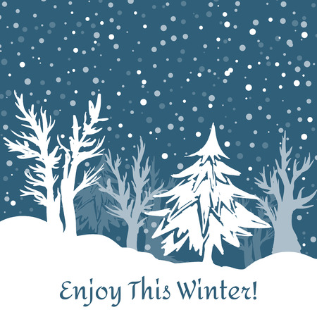 Beautiful winter background with snowflakes and trees. Background for winter, New Year and Christmas with place for text. Hand drawn vector illustration Ilustração