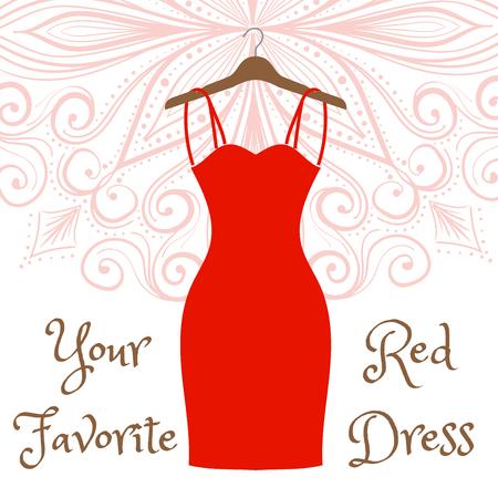 attire: The little red dress hanging on a hanger. Cocktail dress. Evening festive attire. Fashion week vector illustration. Handdrawing mandala on background.