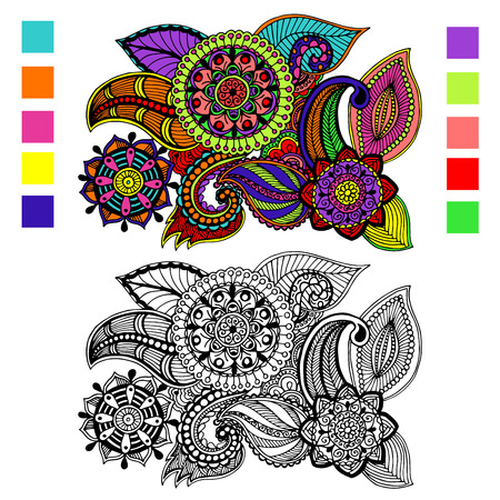 Hand drawn floral zentangle on white background