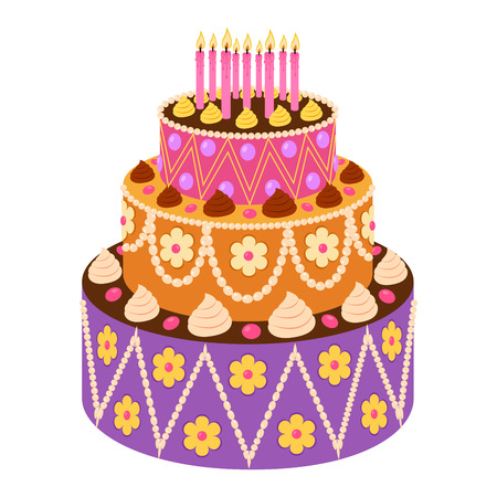 sweet cake in flat style