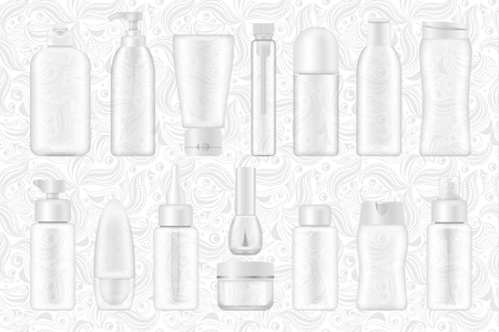 Cosmetic package collection transperent mock ups