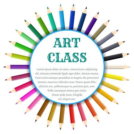Color pencils circle banner