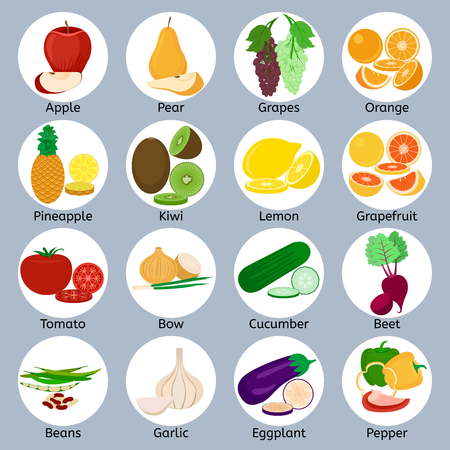 Fruits and vegetables on circles
