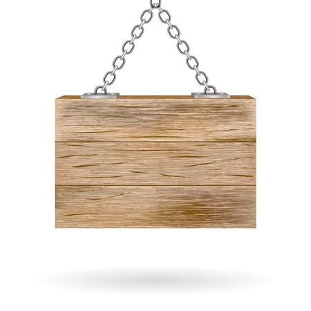 guidepost: Blank wooden signboard hanging on chain