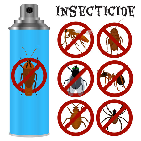 Insecticides set in flat style